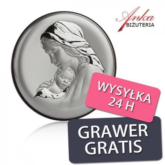 Obrazek srebrny - MADONNA Z DZIECIĄTKIEM - 8 cm* 8 cm