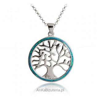Zawieszja srebrna z opalem Drzewo
