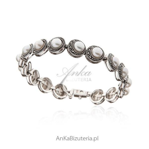 Bransoletka srebrna z perłami