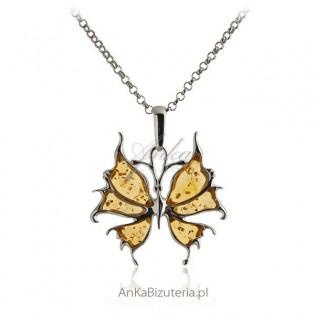 Zawieszka srebrna Bursztynowy żółty Motyl