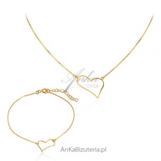 Komplet biżuteria srebrna Naszyjnik i bransoletka z sercem