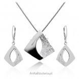 Biżuteria srebrna - Komplet srebro rodowane