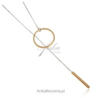 Naszyjnik celebrytka srebrna ze złotymi przywieszkami - Celebrytka krawacik