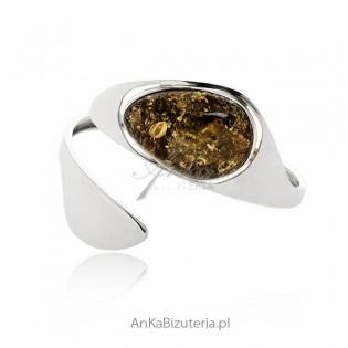 Elegancka bransoleta srebrna z bursztynem zielonym