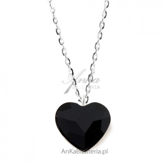 Naszyjnik srebrny Swarovski Czarne serce