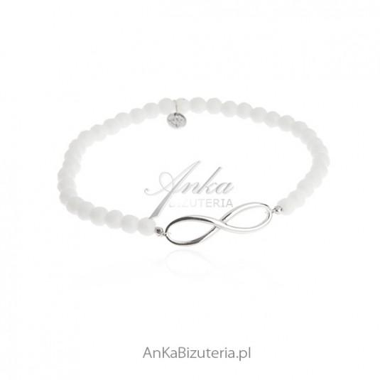 Bransoletka srebrna nieskończoność biały agat