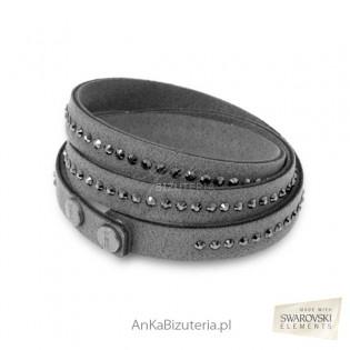 Bransoletka Swarovski Fancy - szara, Czarne kryształy