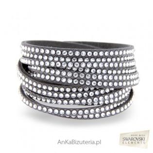 Bransoletka Swarovski Roch Glamour Białe kryształy szara alcantra