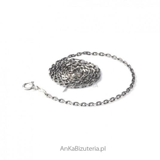 Łańcuszek srebrny Anker diamentowany rodowany 0,3