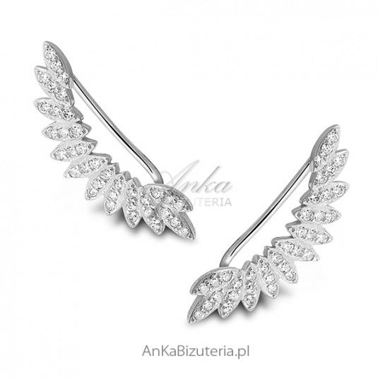 NAUSZNICE srebrne skrzydła z cyrkoniami