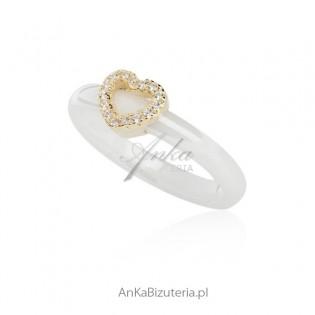 Biżuteria ceramiczna srebrna Pierścionek ceramika