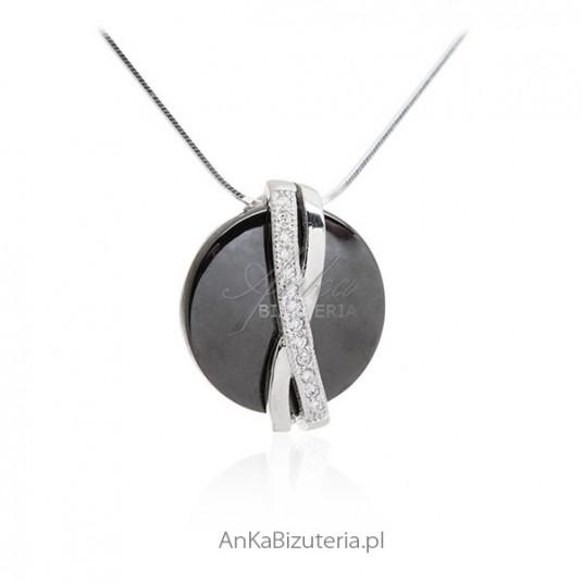 Biżuteria damska - Naszyjnik srebrny czarna ceramika