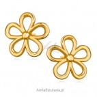 Kolczyki srebrne kwiatki pozłacane