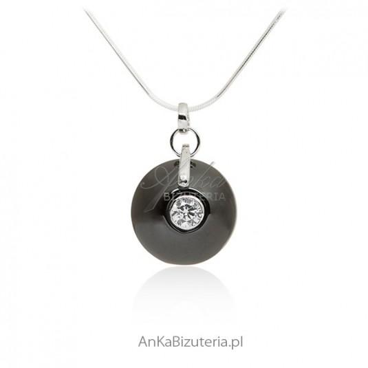 Naszyjnik srebrny czarna ceramika i cyrkonia