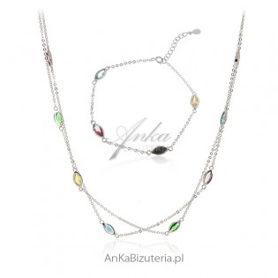 Komplet biżuteria srebrna z kolorowymi łezkami