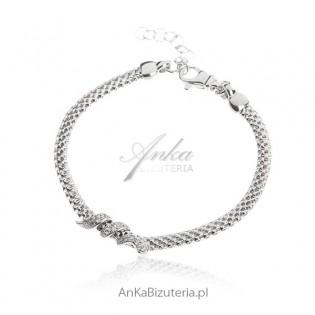 Bransoletka włoska srebrna z motywem węża z cyrkoniami