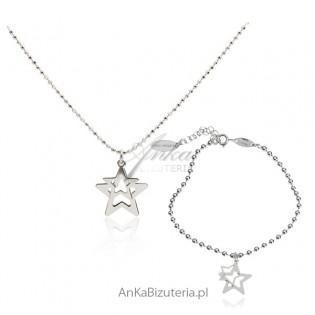 Włoski komplet srebrny Gwiazdki
