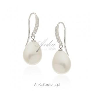 Kolczyki srebrne z perłą Biżuteria włoska