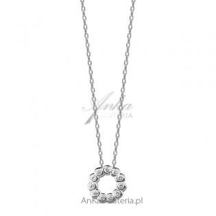 Naszyjnik srebrny Piękna biżuteria z cyrkoniami