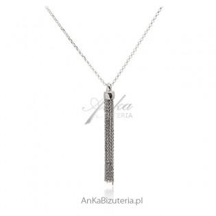 """Długi naszyjnik srebrny naszyjnik z wiszącą """"miotełką"""""""