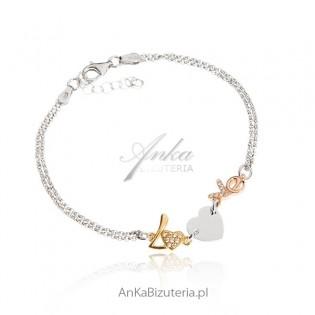Biżuteria damska Bransoletka srebrna - Love