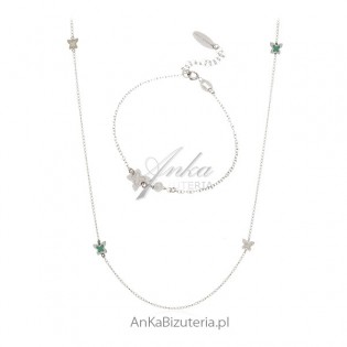 Komplet biżuterii srebrny Biżuteria włoska - Motylki