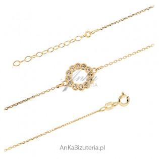 Srebrna biżuteria Bransoletka kółko z cyrkoniami