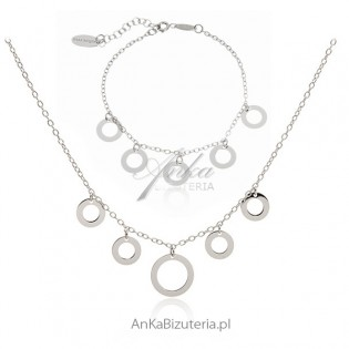 Komplet biżuteria srebrna rodowana - Najmodniejsza biżuteria celebrytek