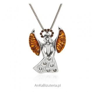 Zawieszka srebrna z bursztynem Piękna Anielica