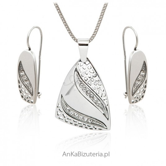 Biżuteria srebrna komplet z cyrkoniami