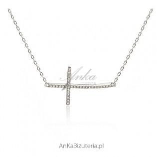 Biżuteria Hiszpania Krzyżyk poprzeczny srebrny pozłacany różowym złotem - cyrkonie