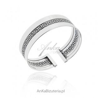 Szeroka bransoleta srebrna sztywna z greckim wzorem