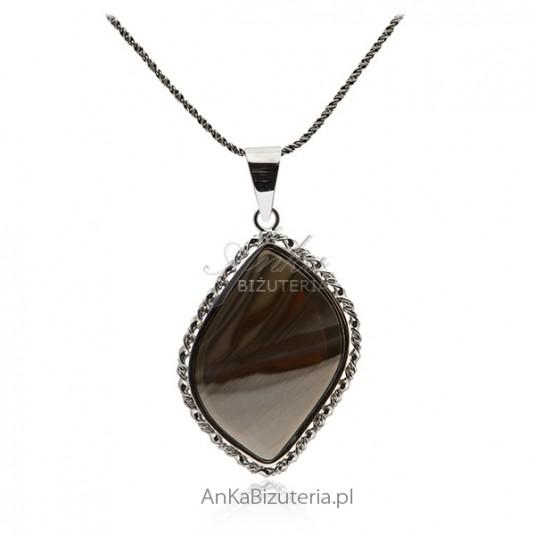 Biżuteria srebrna Zawieszka srebrna z krzemieniem pasiastym
