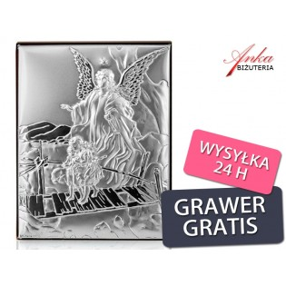 Pamiątka dla dziecka Obrazek srebrny GRAWER!
