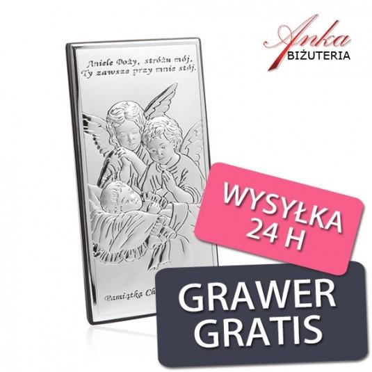 Pamiątka z okazji Chrztu Świętego - Obrazek srebrny z Aniołkami 9 cm * 18 cm