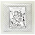 Pamiątka dla dziecka z okazji Chrztu - Obrazek srebrny Aniołki