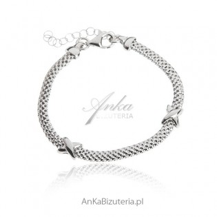 Bransoletka srebrna Biżuteria rodowana włoska