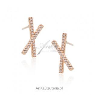 Srebrne kolczyki pozłacane różowym złotem z cyrkoniamii