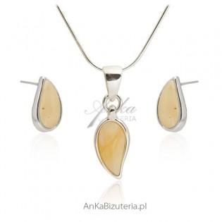 Biżuteria z bursztynem bałtyckim - łezka