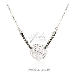 Naszyjnik srebrny z czarnymi cyrkoniamii - różyczka