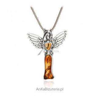 Zawieszka srebrna z bursztynem Anioł