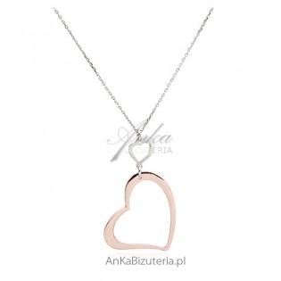 Naszyjnik srebrny z sercem - rodowane i pozłacane