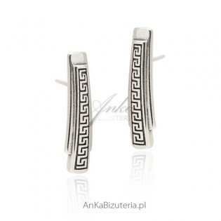 Kolczyki srebrne z greckim wzorem