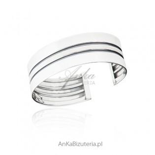 Szeroka bransoletka srebrna