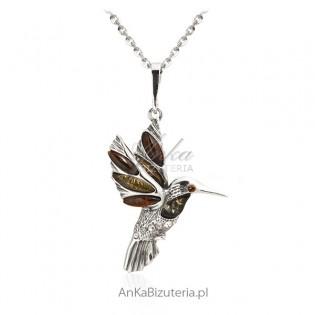 Zawieszka srebrna z bursztynem - Ptak Koliber