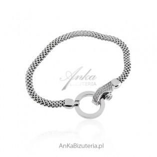 Bransoletka srebrna z kryształami Swarovski - Biżuteria włoska