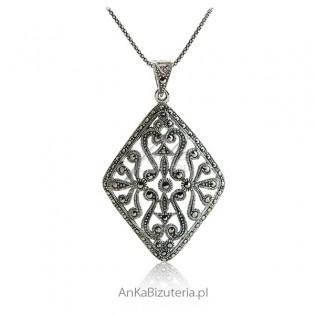 Srebrna biżuteria z markazytami Wisior srebrny