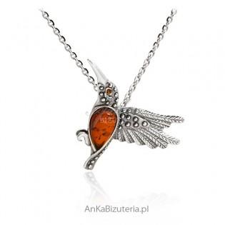 Wisiorek srebrny z bursztynem - Ptak Koliber