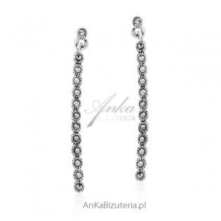 Biżuteria srebrna z markazytami Kolczyki srebrne