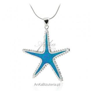 Zawieszka rozgwiazda -Srebrna biżuteria z niebieskim opalem